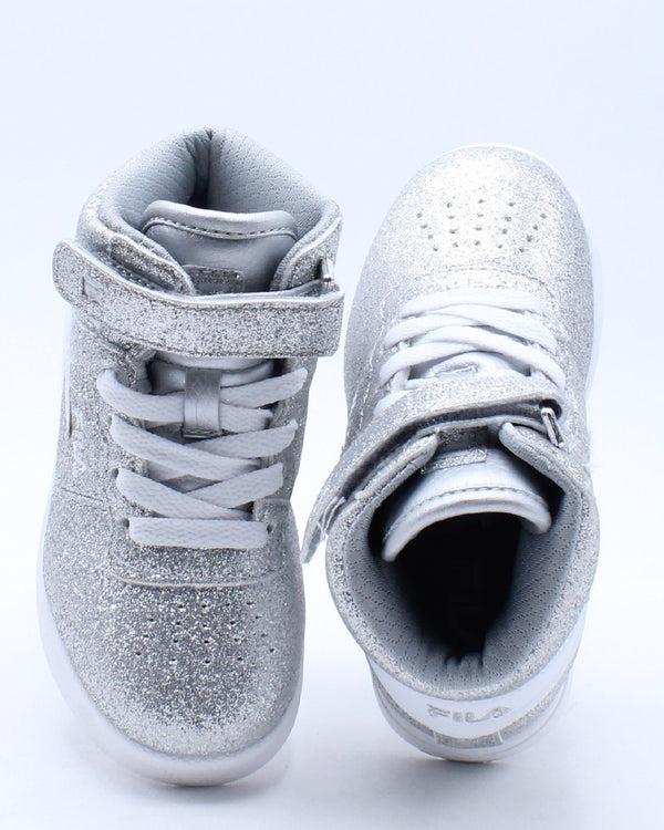Kid's Vulc 13 Glitter Shoe (Toddler) - Silver White