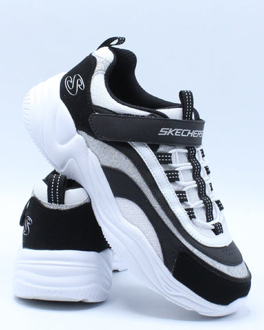 SKECHERS-Delights Sneaker (Pre School) - Black White-VIM.COM