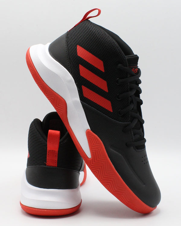 ADIDAS-Own The Game Wide Sneaker (Grade School) - Black Red-VIM.COM