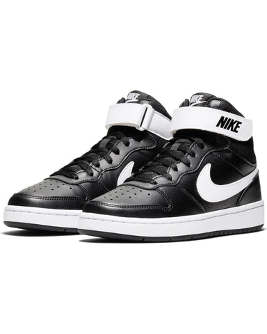 NIKE-Court Borough Mid 2 Sneaker (Grade School) - Black White-VIM.COM