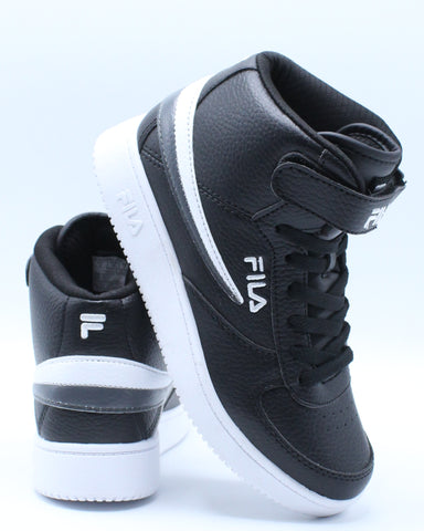 FILA-Fila A High Shoe (Grade School) - Black Grey-VIM.COM