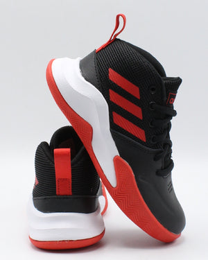 ADIDAS-Own The Game K Wide Sneaker (Pre School) - Black Red-VIM.COM