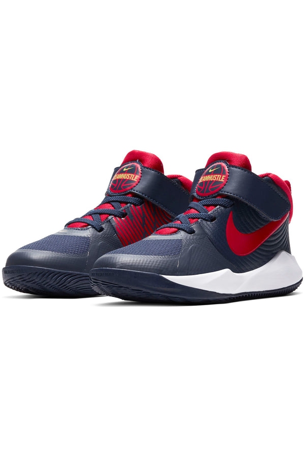 NIKE-Kid's Team Hustle D 9 Sneaker (Pre School) - Navy Red-VIM.COM