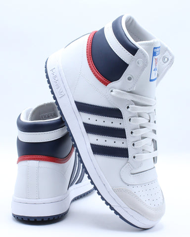 ADIDAS-Top Ten Hi Sneaker (Grade School) - White Blue Red-VIM.COM