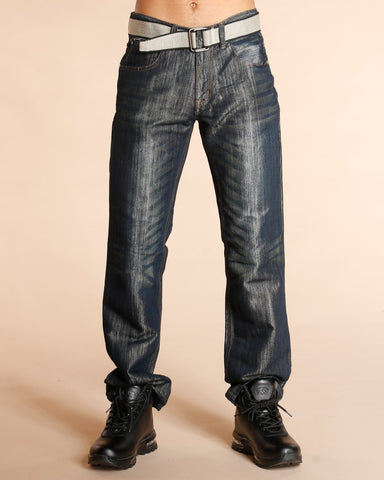 VIM Belted Embroidered Pocket Jeans - Blue - Vim.com