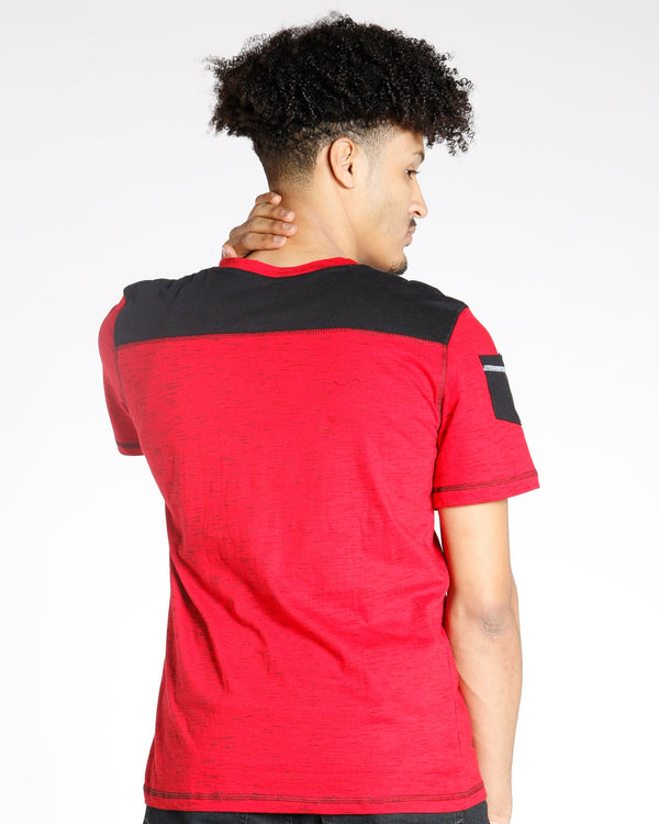 VIM Space Dye Shoulder Patch Tee - Red - Vim.com
