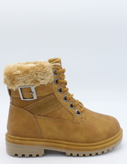 VIM Girls Fur Top Lace Up Work Boots - Brown - Vim.com