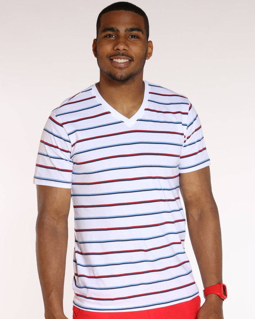 VIM Striped V Neck Tee - White - Vim.com