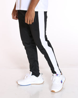 VIM Sam Side Stripe Tricot Track Pant - Black White - Vim.com
