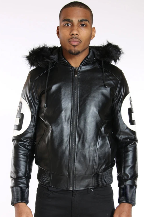 Men's 8 Ball Fur Hood Light Jacket - Black