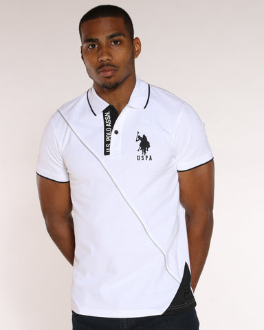 U.S. POLO ASSN. U.S. Polo Assn. Color Block Diagonal Line Tee - White - Vim.com
