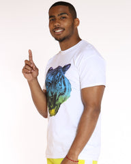 VIM Rainbow Colored Angry Tiger Printed Tee - White - Vim.com