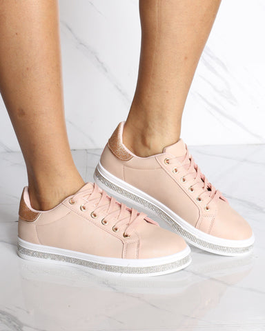 Women's Blinged Out Rhinestone Fashion Sneaker - Pink-VIM.COM