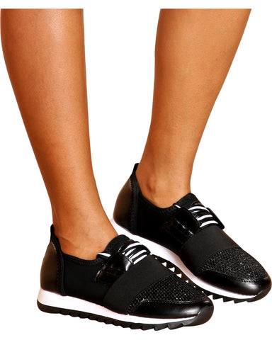 VIM VIXEN Crystal Color Block Low Top Fashion Sneaker - Black - ShopVimVixen.com