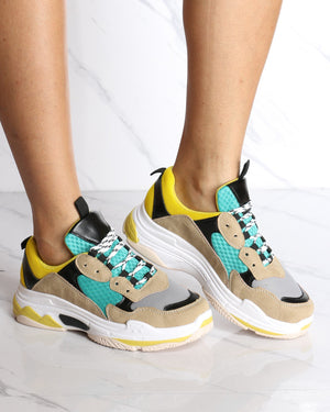 Women's Bellissa Color Block Fashion Sneaker - Yellow-VIM.COM