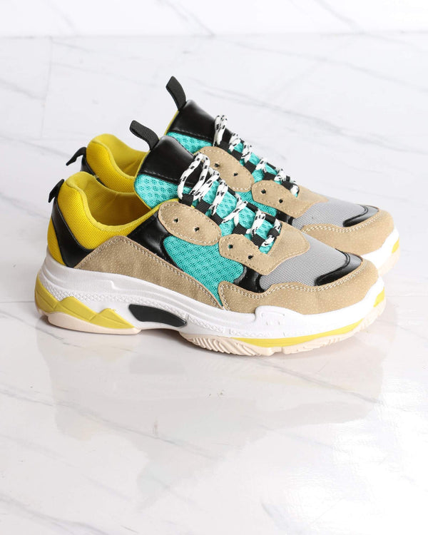 Women's Bellissa Color Block Fashion Sneaker - Yellow