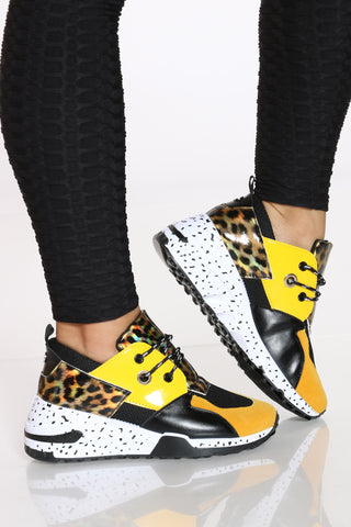 Women's Leopard Pattern Sneaker - Yellow-VIM.COM