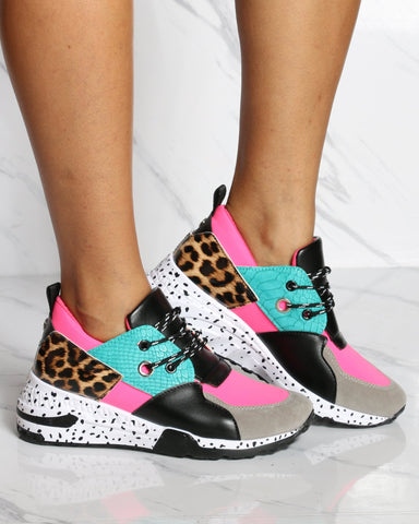 VIM VIXEN Color Block Low Top Fashion Sneaker - Neon Pink - ShopVimVixen.com