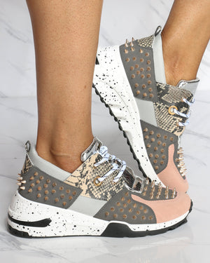 Women's Dont Need You Spikes Fashion Wedge Sneaker - Blush