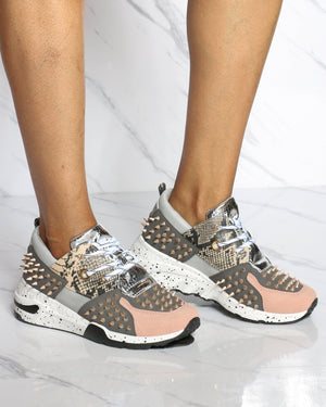 Women's Dont Need You Spikes Fashion Wedge Sneaker - Blush-VIM.COM