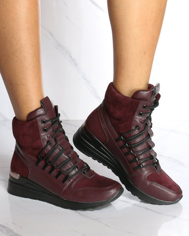 Women's Gretchen Lace Up Wedge Sneaker - Wine-VIM.COM