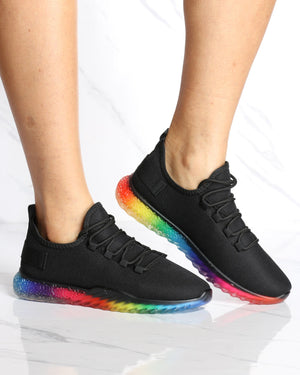 Women's Aria Rainbow Bottom Flynet Sneaker - Black-VIM.COM