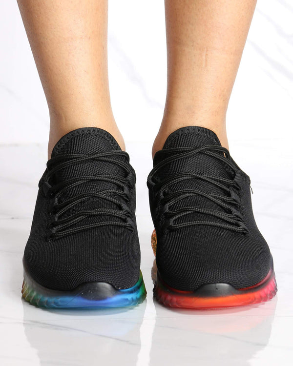 Women's Aria Rainbow Bottom Flynet Sneaker - Black