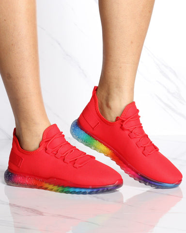 Women's Aria Rainbow Bottom Flynet Sneaker - Red-VIM.COM