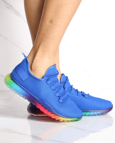 Women's Aria Rainbow Bottom Flynet Sneaker - Blue-VIM.COM