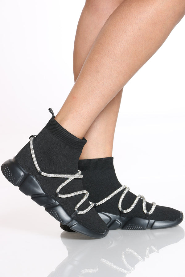 Women's Sock Rhinestone Rope Sneaker - Black