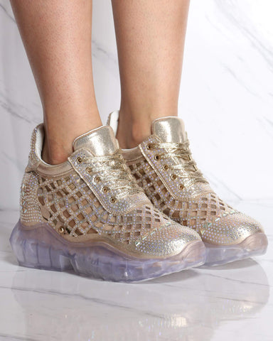 Women's Sky High Rhinestone Wedge Sneaker - Gold-VIM.COM