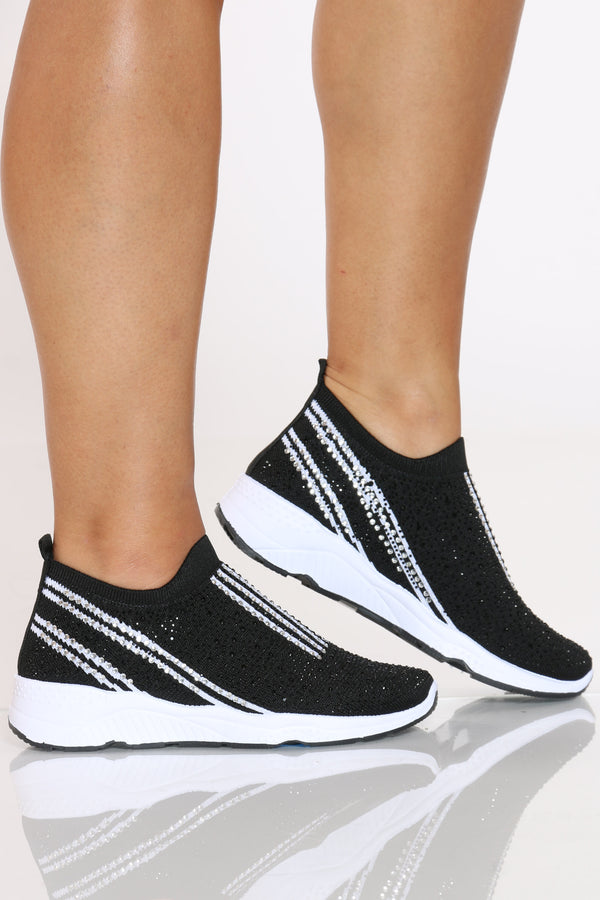 Women's Slide In Fly Net Rhinestone Sneaker - Black-VIM.COM