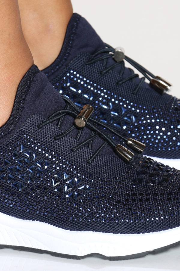 Women's Fashion Rhinestone Lace Up Sneaker - Navy