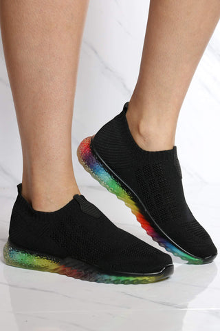 Women's Kayleen Rainbow Bottom Sneaker - Black