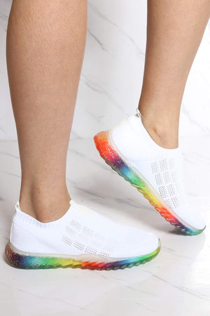 Women's Kayleen Rainbow Bottom Sneaker - White-VIM.COM
