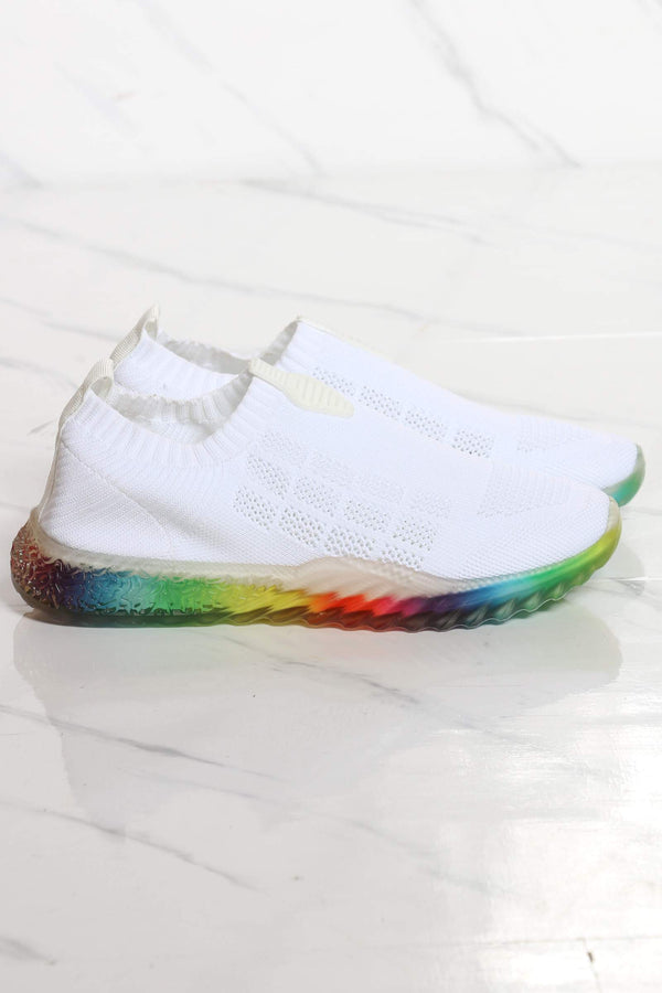 Women's Kayleen Rainbow Bottom Sneaker - White
