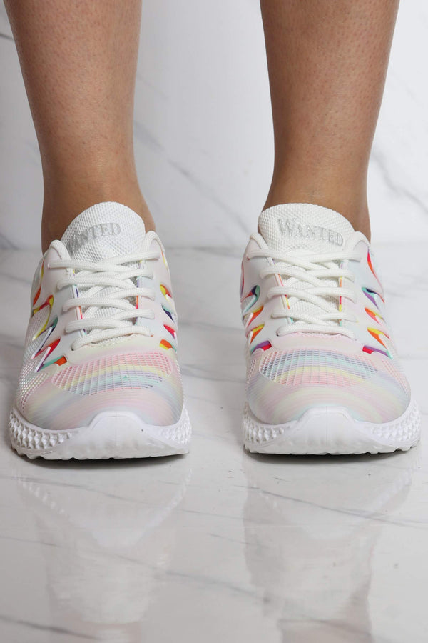 Women's Rainbow Lace Up Sneaker - White