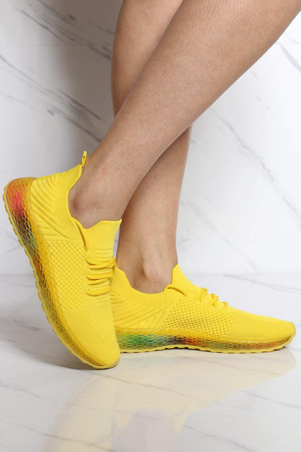 Women's Arianna Rainbow Bottom Sneaker - Yellow