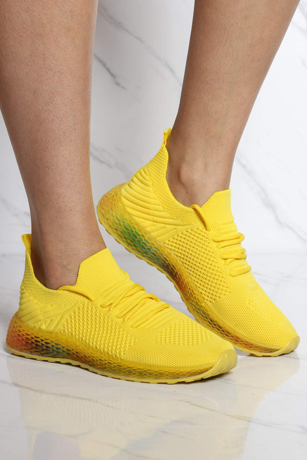 Women's Arianna Rainbow Bottom Sneaker - Yellow-VIM.COM