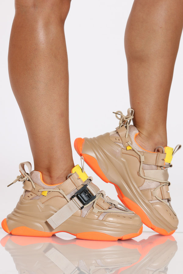 Women's Side Buckle Daddy Sneaker - Nude-VIM.COM
