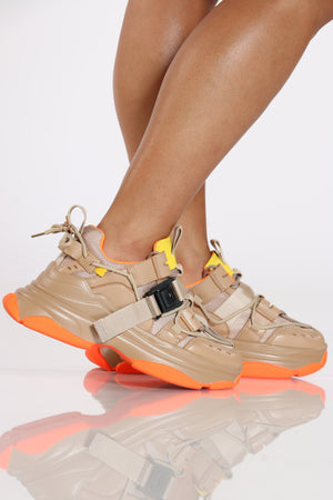 Women's Side Buckle Daddy Sneaker - Nude