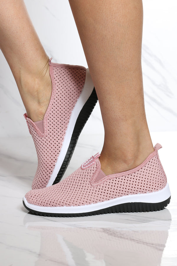Women's Perforated Slip On Shoe - Pink