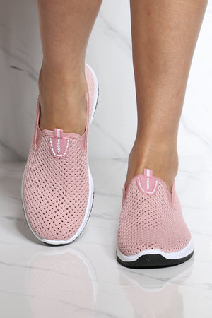 Women's Perforated Slip On Shoe - Pink-VIM.COM