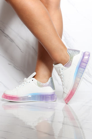 Women's Rainbow Bottom Sneaker - White-VIM.COM