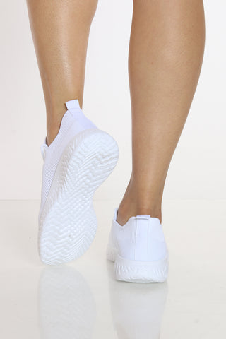 Women's Fly Net Lace Up Sneaker - White-VIM.COM