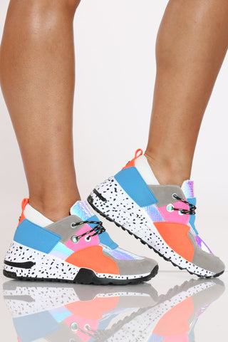 Women's Fashion Sneaker - Blue Orange-VIM.COM