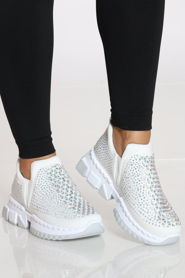 Women's Rhinestone Fashion Sneaker - White-VIM.COM