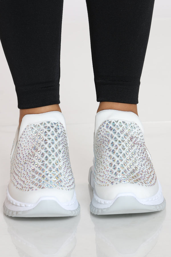 Women's Rhinestone Fashion Sneaker - White