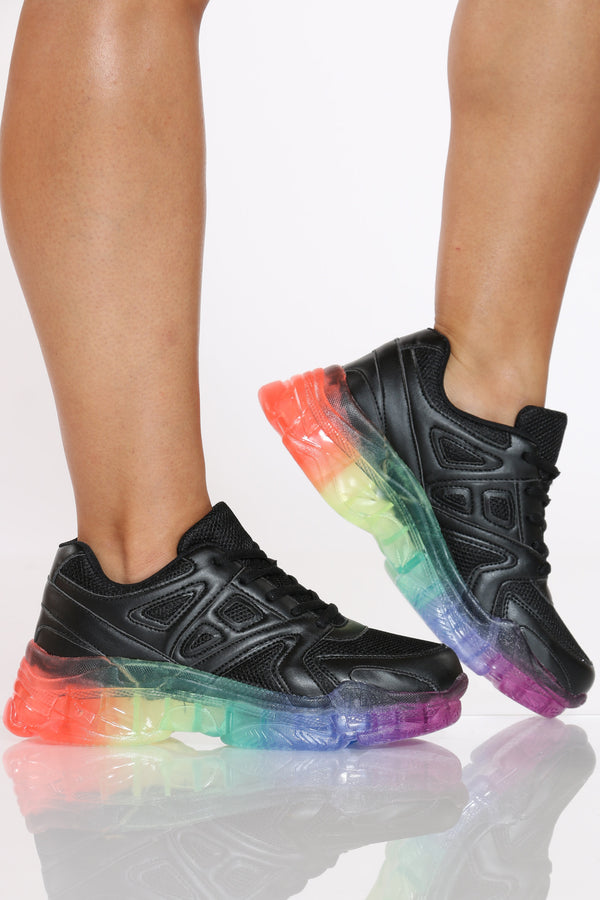 Women's Rainbow Clear Bottom Daddy Sneaker - Black-VIM.COM