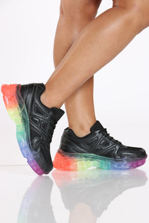 Women's Rainbow Clear Bottom Daddy Sneaker - Black